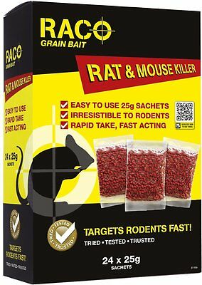 Raco Mouse and Rat Poison Bait Sachets | 24 x 25g
