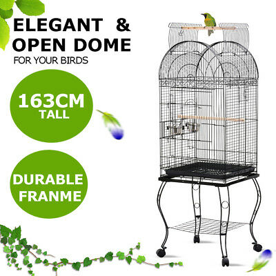 Open-top Large Bird Cage Parrot Aviary Cockatoo Canary Parakeet Budgie w/Wheels