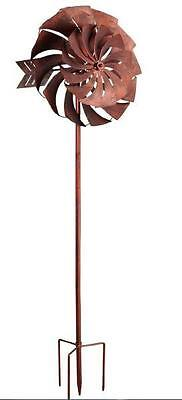 WINDMILL DUAL TWISTED BLOOM BRONZE ORNAMENTAL WIND SPINNER 2134 x 610 x 254 MM