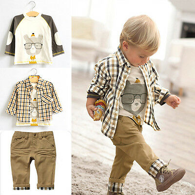 UK STOCK Baby Boys Kids Long Sleeve Tops Checked Shirt T-Shirt Pants Outfit Set