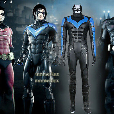 New Batman Young Justice Nightwing Cosplay Costume with Mask Hallowmas Clothing