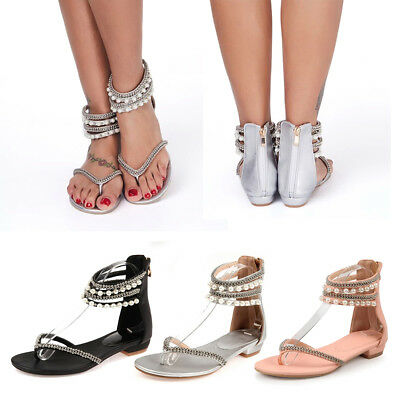 Women Low Heel Wedge Ankle Strap Toe Post Studded Gladiator Sandals Zipper Shoes