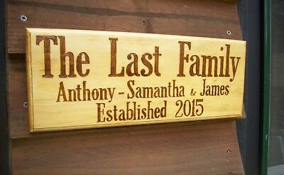 Medium Personalised  Handburnt timber wood Home House Family names sign