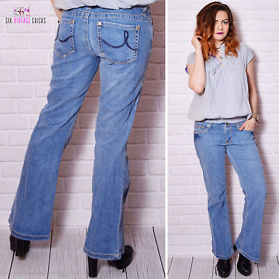 vintage jeans 90s distressed jeans worn out pattern bootcut sexy butt long pants