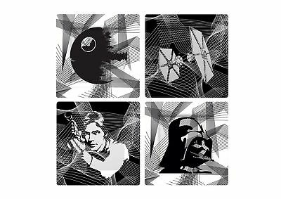 "Star Wars ""Intergalactic"" Plate Set Grey Set of 4"