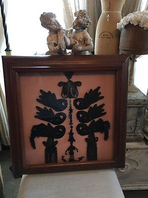 Antique Victorian Black Jet Mourning Embellishments Framed
