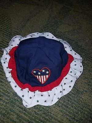 Toddler Cre8ions Hat Cap Cute Navy Patriotic Size 2/4 Red White Blue Stars