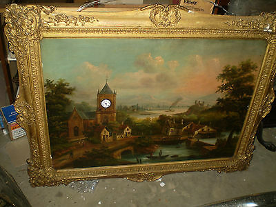 Massive Antique French Musical Picture clock in quality gilt framed oil painting
