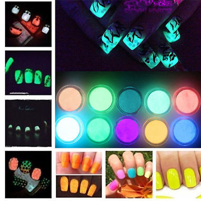 Nail Powder 2g Neon UV Glow in the Dark Effect Pigment Fluorescent Nail Art