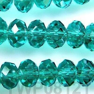 Fashion 100pcs 4x6mm Crystal glass Loose Beads-darkgreen