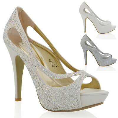 Womens Bridal Shoes Ladies Diamante Platform Satin Courts Size 3-8