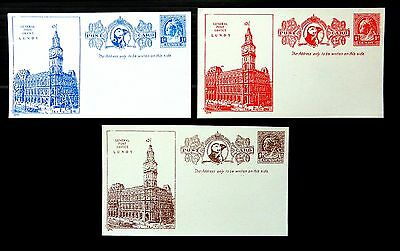 GB Original GERALD KING Lundy General Post Office 1d Postcards (3) NB2660