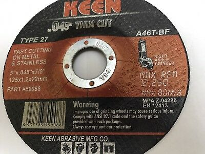 1 KEEN #59089 Raised Hub Slice-It Cutting Blade Cut-Off Wheel 5 x .045 x 7/8
