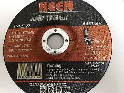 1 KEEN #59125 Raised Hub Slice-It Cutting Blade Cut-Off Wheel 6 x .045 x 7/8