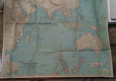 MAP-Canvas - National Geographic, 1941, ' Indian Ocean including Australia, N Z