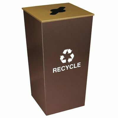 34 gal. Recycling Container Square, Brown Steel TOUGH GUY 22N281