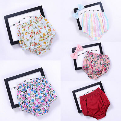 Newborn Baby Girl Bloomer Shorts Floral Cotton Diaper Cover Pants Nappy Bottoms