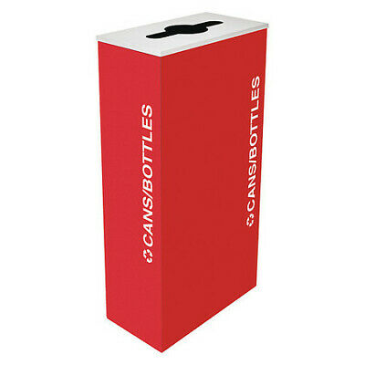 17 gal. Recycling Container Rectangular, Red Steel TOUGH GUY 22N285