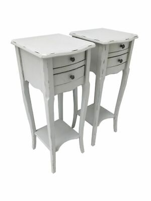 Pair White Bedside Cabinet Side Table 2 Drawer Bedroom Furniture Shabby Chic