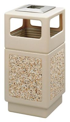 38 gal. Tan Plastic Square Trash Can/ Ash Tray SAFCO 9473TN