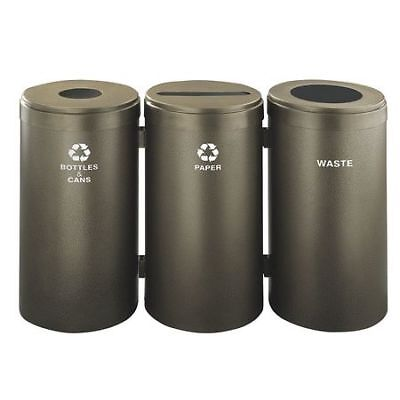 69 gal. Recycling Container Round, Brown Steel GLARO 1542-3BV-BV-B&C/P/W