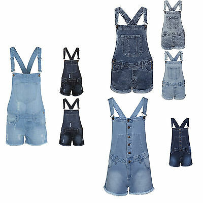New Girls Denim Wash Distressed Frayed Dungaree Shorts Hot Pants Kids Playsuit