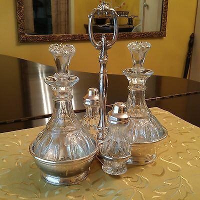 Lovely Vintage Silver Plated Cruet Condiment Set with Ornate Carrier