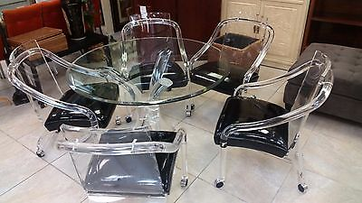 Rare Set Of 5 Lucite Dining Chairs and Table