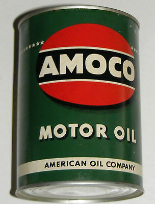 AMOCO MOTOR OIL CAN VTG 1930-40s EMPTY METAL QT AUTHENTIC!
