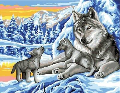 Royal Paris Tapestry/Needlepoint Canvas - Winter Wolves with Cubs (Les loups)