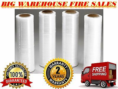 "4 Rolls 18""x 1500FT 80 Gauge Pallet Wrap CLR Stretch Film Shrink Hand Wrap"