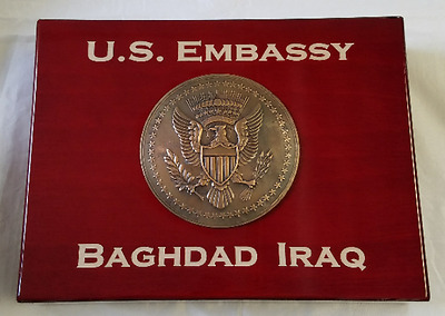 US EMBASSY Baghdad Iraq w 3D Embassy Emblem Cherry Wood Humidor w Accessories