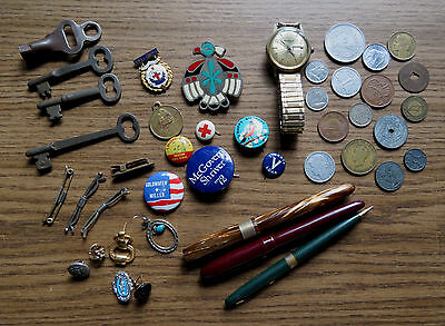 Great Junk Drawer Lot - Keys Coins Pens Buttons Watch & Jewelry
