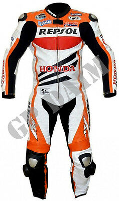 Repsol Honda Motorcycle Riding Suit Biker Cowhide Leather Racing 1 / 2pcs