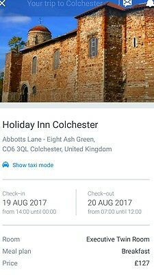 Overnight stay at Holiday Inn Colchester 19th August. Not far from V Festival