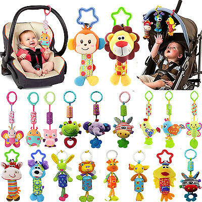 PO Baby Infant Rattles Plush Animal Stroller Hanging Bell Play Toy Doll Soft Bed