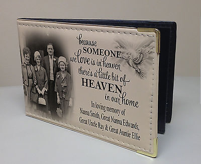 In loving memory, personalised faux leather photo album, memory book present