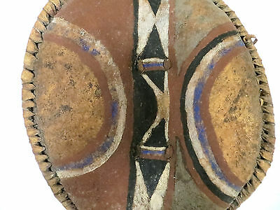 Vintage Small African Maasai Leather & Wood Shield
