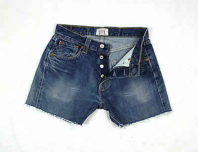 Levi's Vintage Womens Ultimate Denim Blue High Waisted Shorts W27 Lv61
