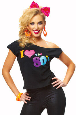 Brand New Womens I Love The 80's T-Shirt Halloween Costume
