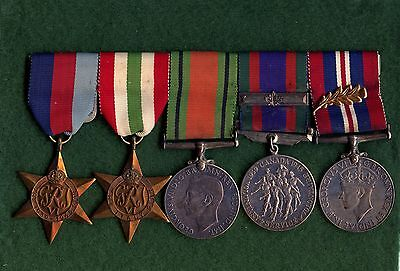 Set Of 5 Canada WW2 Medals With Overseas Bar & Palm Leaf