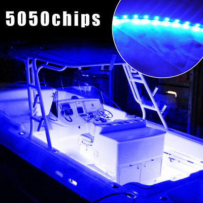 2PCS LED Boat Marine Yacht Deck Courtesy Bow Pontoon Interior Lights Kits  (Blue)