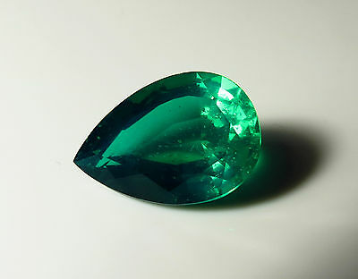 19x13mm CREATED EMERALD FACETED PEAR CUT LOOSE GEMSTONE