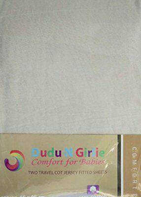 Dudu N Girlie Travel Cot Cotton Jersey Fitted Sheets, 65 x 95 cm, Cream, Pack of