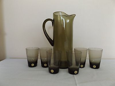 Smokey Grey Glass Decanter/Jug and glasses set Made in Poland label