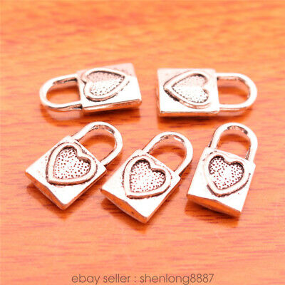 20 Piece 17*9mm Charms lock Lover Heart pendant Diy Jewelry Tibetan Silver 7066F