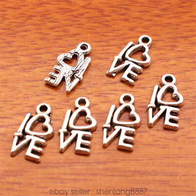 100 Pieces 13*7mm Love Word Charms Tibetan Silver Jewelry DIY Charm Making 7181F