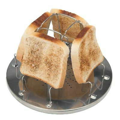 Folding 4 Slice Bread Toast Tray Gas Stoves Cooker BBQ Camping Toaster Rack -AU