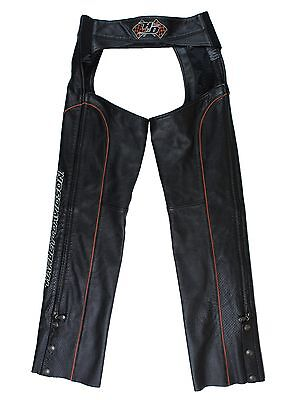 HARLEY DAVIDSON Size S Black Leather Biker Motorcycle Riding Chaps