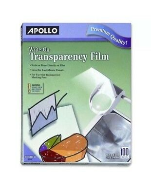 write-on transparency film, 8.5 x 11 inches, clear, 100 sheets per box